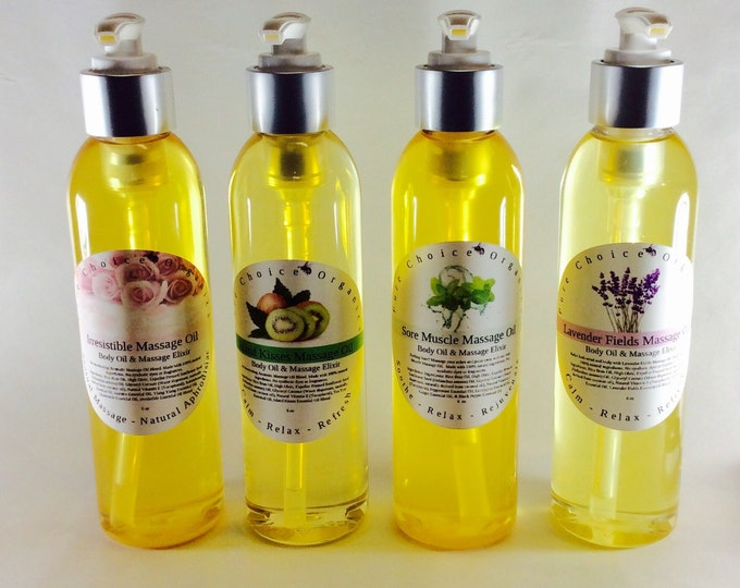 Massage Oil - Island Kisses - Irresistible -Sore Muscle - Lavender Fields - Lemongrass Bergamot l Gifts Under 20 l Gifts Under 40