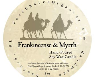 Frankincense & Myrrh Soy Wax Candles Holiday Gift | Birthday Gifts Under 20