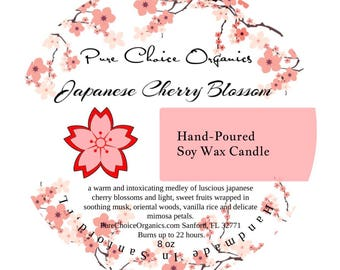 Japanese Cherry Blossom Soy Wax Candles Holiday Gift | Birthday Gifts Under 20