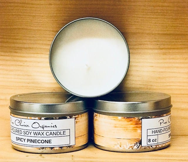 Spicy Pinecone Soy Wax Candles Holiday Gift