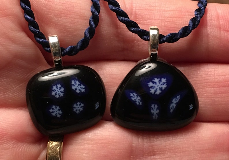 Snowflake fused glass necklace image 0