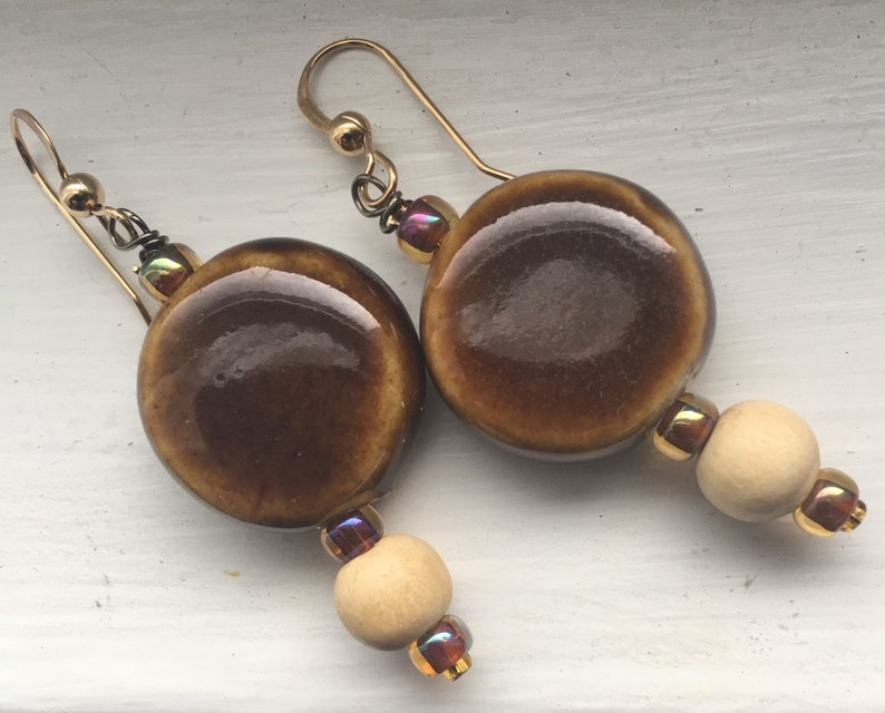 Clay and wood earrings image 0