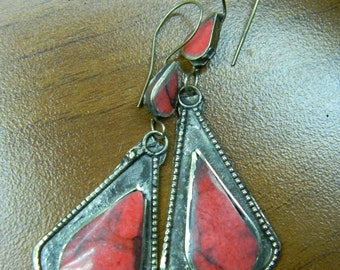 Made in Turkey Hand Made Afghani Style Naturel Coral Stone Bronze Earrings