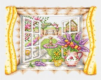 Summer Window Scene Cross Stitch PDF Pattern