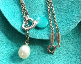 3e28f3235 TIFFANY & CO Sterling Silver Open Heart Pearl Lariat Necklace Tiffany Heart Necklace  Tiffany Pearl Necklace Tiffany Open Heart Lariat