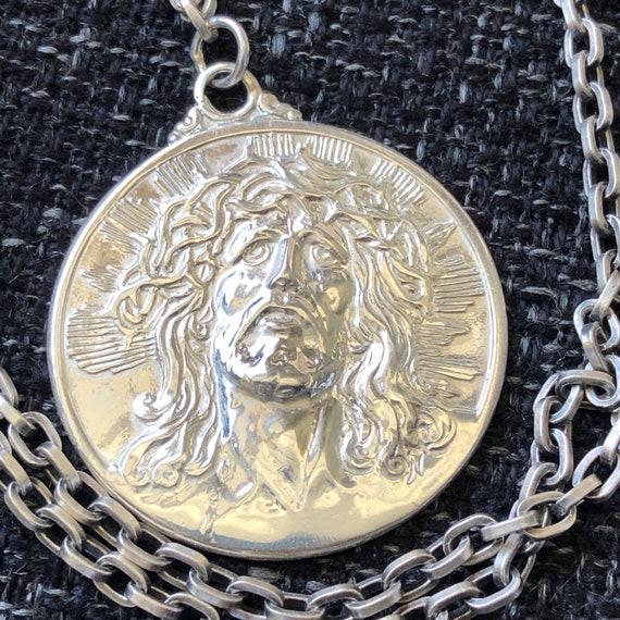Vintage Sterling Silver CREED JESUS Necklace Medal