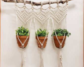 Handmade Boho Eclectic Macrame and Driftwood Wall Tapestry Hanging Triple Plant holder for indoor or outdoor