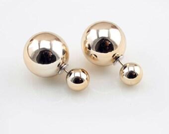cc4e2d633 Gold pearl Double Sided Earrings,metallic golden Stud earring,bubble earring ,golden colour earring,Ear Jacket,