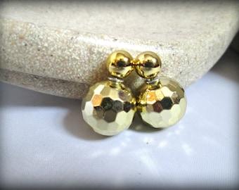 aa8b01b1e Gold disco ball Double Sided Earrings,metallic gold Stud earring,bubble  earring,golden colour earring,Ear Jacket,