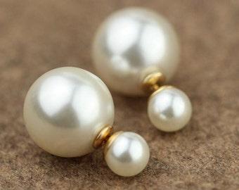 Pearl Double Sided Earrings,pearl gold Stud earring,bubble earring,steel colour earring,Ear Jacket,