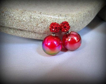 Red Crystal pave Double Sided Earrings, glass bubble Stud earring,bubble earring, ball double earring,Ear Jacket, ball stud earring