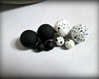 Double Sided Earrings,black and white Stud earring,white bubble earring,earring,Ear Jacket,set of 2 pairs