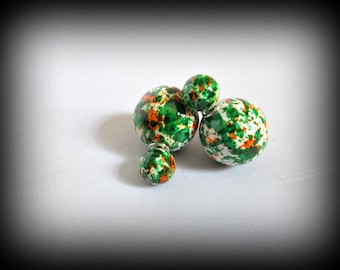 Green Double Sided Earrings,brush print Stud earring,bubble earring, ball double earring,Ear Jacket,candy ball stud earring