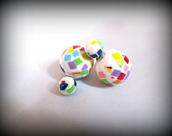 White Double Sided Earrings,brush print Stud earring,bubble earring, ball double earring,Ear Jacket,candy ball stud earring