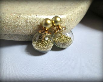 Double Sided Earrings,gold glass bubble Stud earring,bubble earring, ball double earring,Ear Jacket,candy ball stud earring