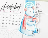 Polar Bear with Scarf and Earmuffs Large Magnetic Bookmark