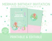 Mermiad Birthday Invitation for Kids in Pastel Green and Pink- Instant Download, Editable & Printable!