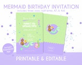 Mermiad Birthday Invitation for Kids in Pastel Green and Purple - Instant Download, Editable & Printable!