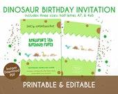 Cute Dinosaur Birthday Invitation for Kids - Instant Download, Editable & Printable!