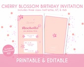 Pretty Pink Sakura Cherry Blossom Birthday Invitation for Kids - Instant Download, Editable & Printable!