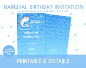 Narwhal Birthday Invitation for Kids - Instant Download, Editable & Printable!