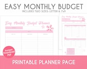 Printable Easy Monthly Budget Planner - Cherry Blossom Theme - Plan, Track, & Organize Your Life!