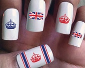 Union Jacks & Royalty - Water Slide Nail Decals with flags and crowns