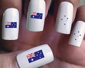 Australia - Water Slide Nail Decals with flags and Southern Cross constellations