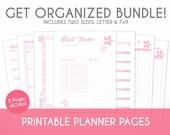 Printable Planner Essentials Bundle Set - Cherry Blossom Theme - Plan, Track, & Organize Your Life!