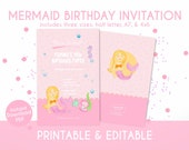 Mermiad Birthday Invitation for Kids in Pastel Pink - Instant Download, Editable & Printable!