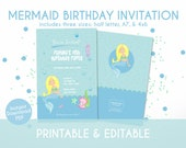 Mermiad Birthday Invitation for Kids in Pastel Blue - Instant Download, Editable & Printable!
