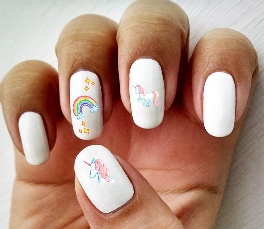 Magical Unicorn Water Slide Nail Decals Etsy