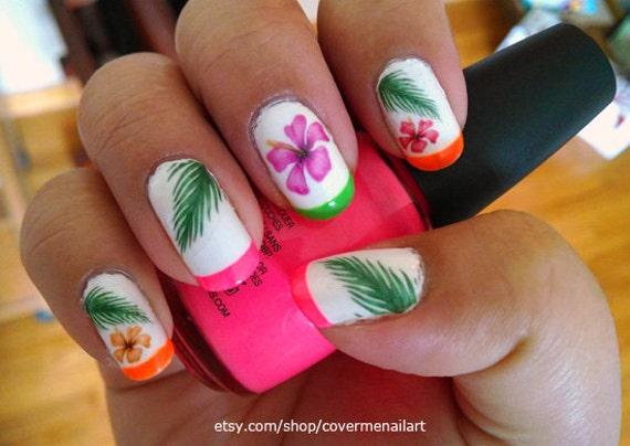 Hawaiian Flowers Water Slide Nail Decals Etsy