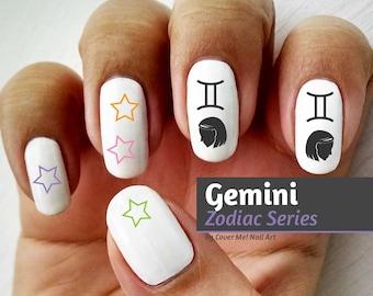 Gemini Zodiac - Water Slide Nail Decals