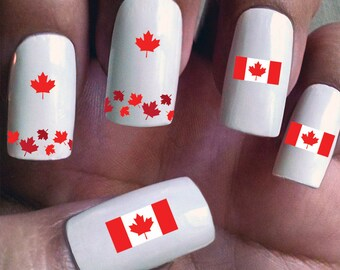 Canada - Water Slide Nail Decals with flags and maple leaves