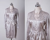 Vintage 1970s Dress Retro Silver Grey Peplum Formal Bow Tie Prom Party Mini Dress 70s Antique Edwardian Style Long Sleeves Dress Small