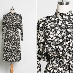 1970s Vintage Dress  70s Hot Red Black V Neck Collar Dress  High Waisted Sheath Dress  Long Sleeves Formal Dress   Medium SALE 70/% OFF