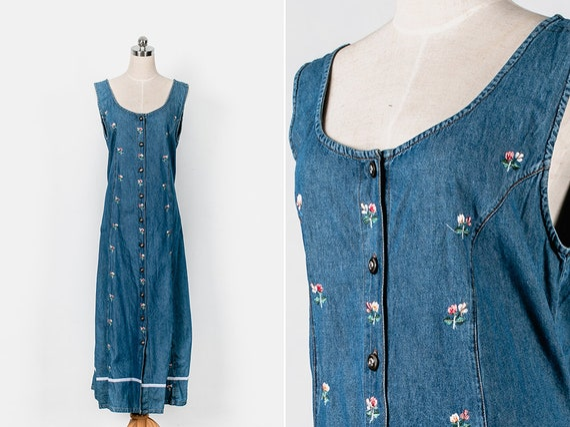 1990s Denim Floral Embroidered Maxi DressCottonShort sleevePrairieCottagecoreVintageSize 18-20