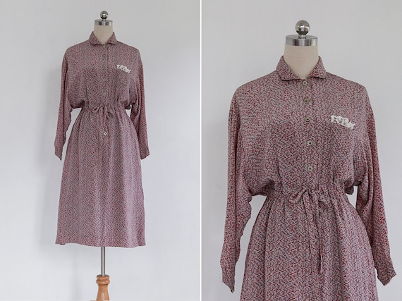 Vintage 80s Grey Pink Stroke Print Japanese Collar