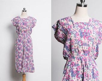 Vintage Floral Midi Dress / 70s Summer Dress / 1970s Bodice Dress / Spring Floral Dress / High waisted Floral Skirt  / Size Large M