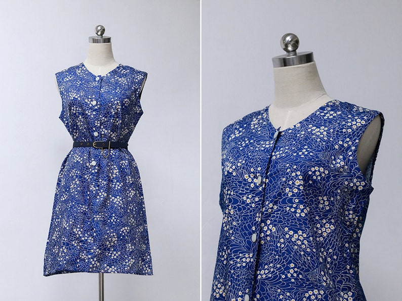 7d66d4c39f6e Vintage 70s Blue Japanese Floral Sleeveless Dress Retro