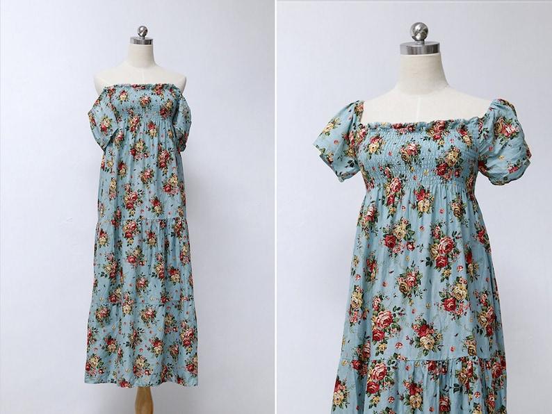2e784dc9430a Vintage Blue Red Rose Floral Print Off Shoulder Midi Dress