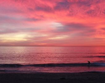 Surfers Delight, Sunset, Pink, Sky, Beach, Carlsbad, San Diego, California