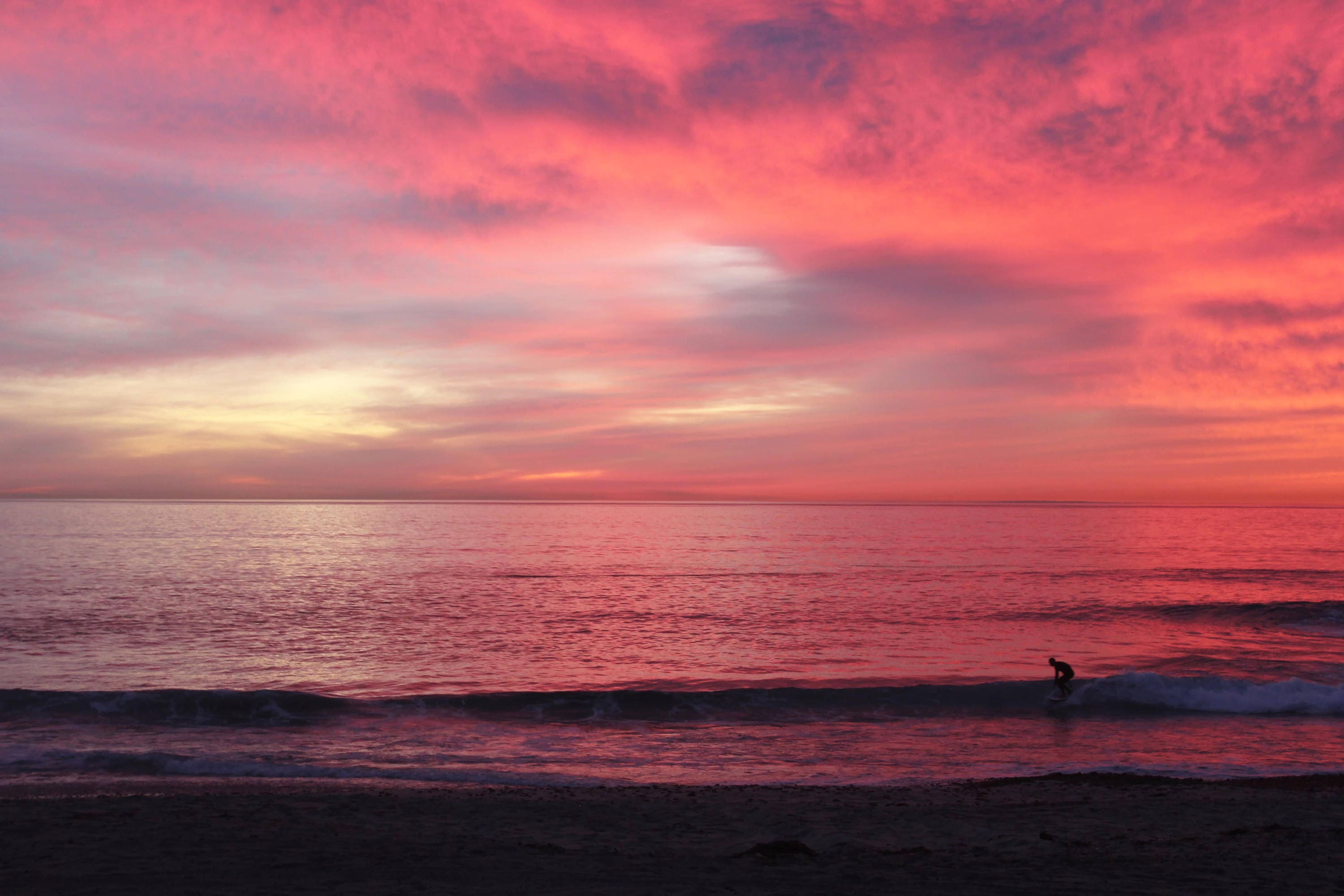 Surfers Delight Sunset Pink Sky Beach Carlsbad San | Etsy