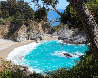 Waterfalls of Big Sur, McWay, Julia Pfeiffer Burns State Park, Turquoise Waters, Mountains, Beach, Nature, Trees, Central Coast California