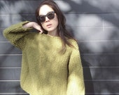 Handknitted,Oversized  Knit, One Size,Olive Green Sweater, 3/4 Sleeve, Chunky Knit, Chunky Sweater; Cream Jumper; Boho Knit