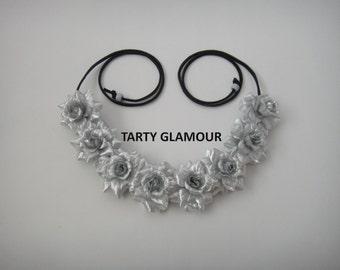 Silver Rose Headband, Rose Crown, Rose Halo, Flower Headband, Flower Crown, Flower Halo, EDC, Festival, Hippie Headband, Rave