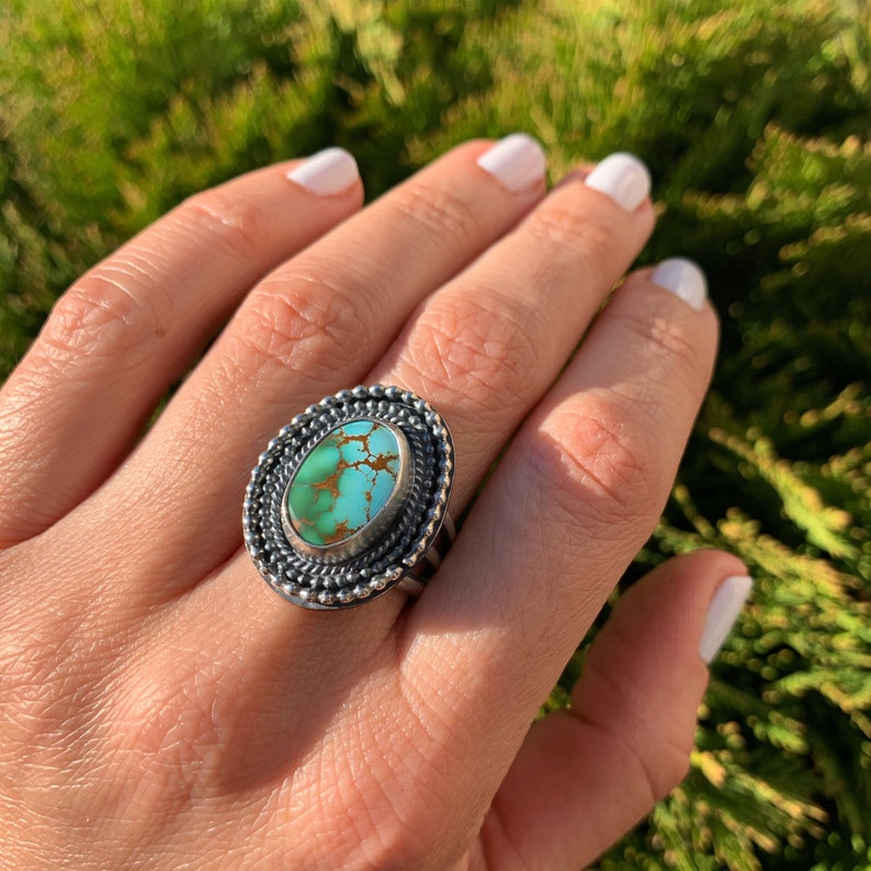 one of a kind,stamped ring,boho jewelry High grade Royston turquoise Size 7.5 Royston Turquoise Ring,Sterling silver 925 Statement Ring