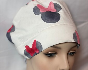 Minnie Mouse surgical hat Tie Back Scrub Hat for Men Unisex Scrub Hat Scrub Hat for Women Disney Minnie Surgical Scrub Hat