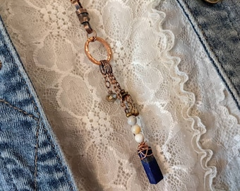 long lapis necklace, extra long blue boho chic necklace in lapis lazuli and copper, boho style jewelry with copper by JT Maui
